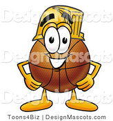 Stock Mascot Cartoon of a Basketball Mascot Wearing a Helmet by Toons4Biz