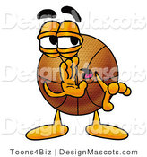 Stock Mascot Cartoon of a Basketball Mascot Whispering and Gossiping by Toons4Biz
