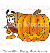 Stock Mascot Cartoon of a Basketball Mascot with a Carved Halloween Pumpkin by Toons4Biz
