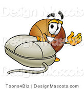 Stock Mascot Cartoon of a Basketball Mascot with a Computer Mouse by Toons4Biz