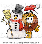 Stock Mascot Cartoon of a Basketball Mascot with a Snowman on Christmas by Toons4Biz