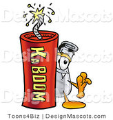 Stock Mascot Cartoon of a Beaker Mascot and Dynamite by Toons4Biz