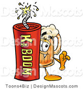 Stock Mascot Cartoon of a Beer Mascot and Dynamite by Toons4Biz