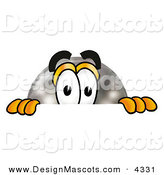 Stock Mascot Cartoon of a Black Bowling Ball Mascot Cartoon Character Peeking over a Surface by Toons4Biz