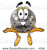 Stock Mascot Cartoon of a Black Bowling Ball Mascot Cartoon Character Sitting by Toons4Biz