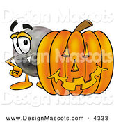Stock Mascot Cartoon of a Black Bowling Ball Mascot Cartoon Character with a Carved Halloween Pumpkin by Toons4Biz