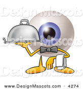 Stock Mascot Cartoon of a Blue Eyeball Mascot Cartoon Character Dressed As a Waiter and Holding a Serving Platter by Toons4Biz