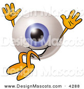 Stock Mascot Cartoon of a Blue Eyeball Mascot Cartoon Character Jumping by Toons4Biz