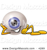 Stock Mascot Cartoon of a Blue Eyeball Mascot Cartoon Character Resting His Head on His Hand by Toons4Biz