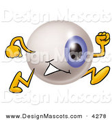 Stock Mascot Cartoon of a Blue Eyeball Mascot Cartoon Character Running by Toons4Biz