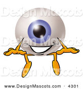 Stock Mascot Cartoon of a Blue Eyeball Mascot Cartoon Character Sitting by Toons4Biz