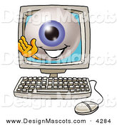Stock Mascot Cartoon of a Blue Eyeball Mascot Cartoon Character Waving from Inside a Computer Screen by Toons4Biz