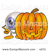 Stock Mascot Cartoon of a Blue Eyeball Mascot Cartoon Character with a Carved Halloween Pumpkin by Toons4Biz