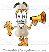 Stock Mascot Cartoon of a Bone Holding a Megaphone by Toons4Biz
