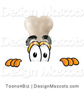 Stock Mascot Cartoon of a Bone Peeking over a Surface by Toons4Biz
