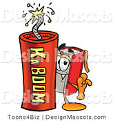 Stock Mascot Cartoon of a Book Mascot and Dynamite by Toons4Biz