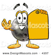Stock Mascot Cartoon of a Bowling Ball Mascot Cartoon Character Holding a Yellow Sales Clearance Tag by Toons4Biz