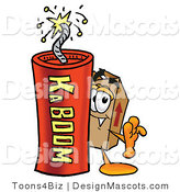 Stock Mascot Cartoon of a Box Mascot and Dynamite by Toons4Biz