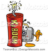 Stock Mascot Cartoon of a Camera Mascot and Dynamite by Toons4Biz