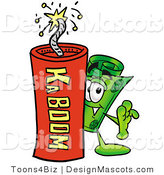 Stock Mascot Cartoon of a Cash Mascot and Dynamite by Toons4Biz