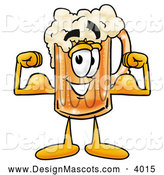Stock Mascot Cartoon of a Cheerful Beer Mug Mascot Cartoon Character Flexing His Arm Muscles by Toons4Biz