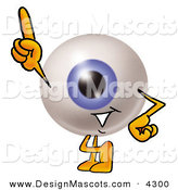 Stock Mascot Cartoon of a Cheerful Blue Eyeball Mascot Cartoon Character Pointing Upwards by Toons4Biz