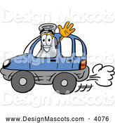 Stock Mascot Cartoon of a Cheerful Erlenmeyer Conical Laboratory Flask Beaker Mascot Cartoon Character Driving a Blue Car and Waving by Toons4Biz
