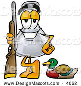 Stock Mascot Cartoon of a Cheerful Erlenmeyer Conical Laboratory Flask Beaker Mascot Cartoon Character Duck Hunting, Standing with a Rifle and Duck by Toons4Biz