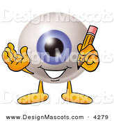 Stock Mascot Cartoon of a Cheerful Eyeball Mascot Cartoon Character Holding a Pencil by Toons4Biz