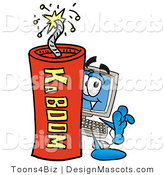 Stock Mascot Cartoon of a Computer Mascot and Dynamite by Toons4Biz