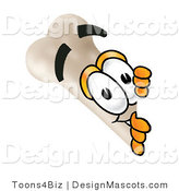 Stock Mascot Cartoon of a Curious Bone Mascot Cartoon Character Peeking Around a Corner by Toons4Biz
