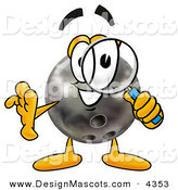 Stock Mascot Cartoon of a Curious Bowling Ball Mascot Cartoon Character Looking Through a Magnifying Glass by Toons4Biz