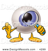 Stock Mascot Cartoon of a Curious Eyeball Mascot Cartoon Character Looking Through a Magnifying Glass by Toons4Biz