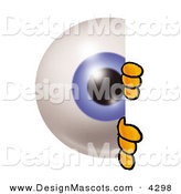 Stock Mascot Cartoon of a Curious Eyeball Mascot Cartoon Character Peeking Around a Corner by Toons4Biz