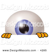 Stock Mascot Cartoon of a Curious Eyeball Mascot Cartoon Character Peeking over a Surface by Toons4Biz