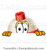 Stock Mascot Cartoon of a Curious Fishing Bobber Mascot Cartoon Character Peeking over a Surface by Toons4Biz