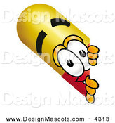 Stock Mascot Cartoon of a Curious Medicine Pill Capsule Mascot Cartoon Character Peeking Around a Corner by Toons4Biz