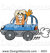Stock Mascot Cartoon of a Cute Beer Mug Mascot Cartoon Character Driving a Blue Car and Waving by Toons4Biz