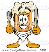 Stock Mascot Cartoon of a Cute Beer Mug Mascot Cartoon Character Holding a Knife and Fork by Toons4Biz