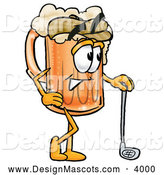 Stock Mascot Cartoon of a Cute Beer Mug Mascot Cartoon Character Leaning on a Golf Club While Golfing by Toons4Biz