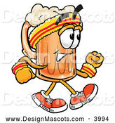 Stock Mascot Cartoon of a Cute Beer Mug Mascot Cartoon Character Speed Walking or Jogging by Toons4Biz