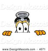 Stock Mascot Cartoon of a Cute Erlenmeyer Conical Laboratory Flask Beaker Mascot Cartoon Character Peeking over a Surface by Toons4Biz