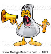 Stock Mascot Cartoon of a Cute Erlenmeyer Conical Laboratory Flask Beaker Mascot Cartoon Character Screaming into a Megaphone by Toons4Biz