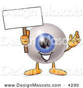 Stock Mascot Cartoon of a Cute Eyeball Mascot Cartoon Character Holding a Blank Sign by Toons4Biz