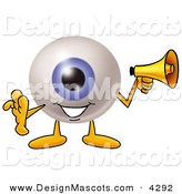 Stock Mascot Cartoon of a Cute Eyeball Mascot Cartoon Character Holding a Megaphone by Toons4Biz