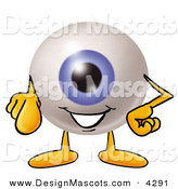 Stock Mascot Cartoon of a Cute Eyeball Mascot Cartoon Character Pointing at the Viewer by Toons4Biz