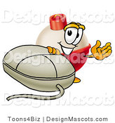 Stock Mascot Cartoon of a Cute Fishing Bobber Mascot Cartoon Character with a Computer Mouse by Toons4Biz
