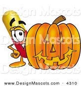 Stock Mascot Cartoon of a Cute Medicine Pill Capsule Mascot Cartoon Character with a Carved Halloween Pumpkin by Toons4Biz