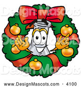 Stock Mascot Cartoon of a Cute Science Flask Smiling Inside a Christmas Wreath by Toons4Biz