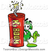 Stock Mascot Cartoon of a Dollar Symbol Mascot and Dynamite by Toons4Biz